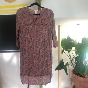 H&M popover shirtdress paisley rust size 10